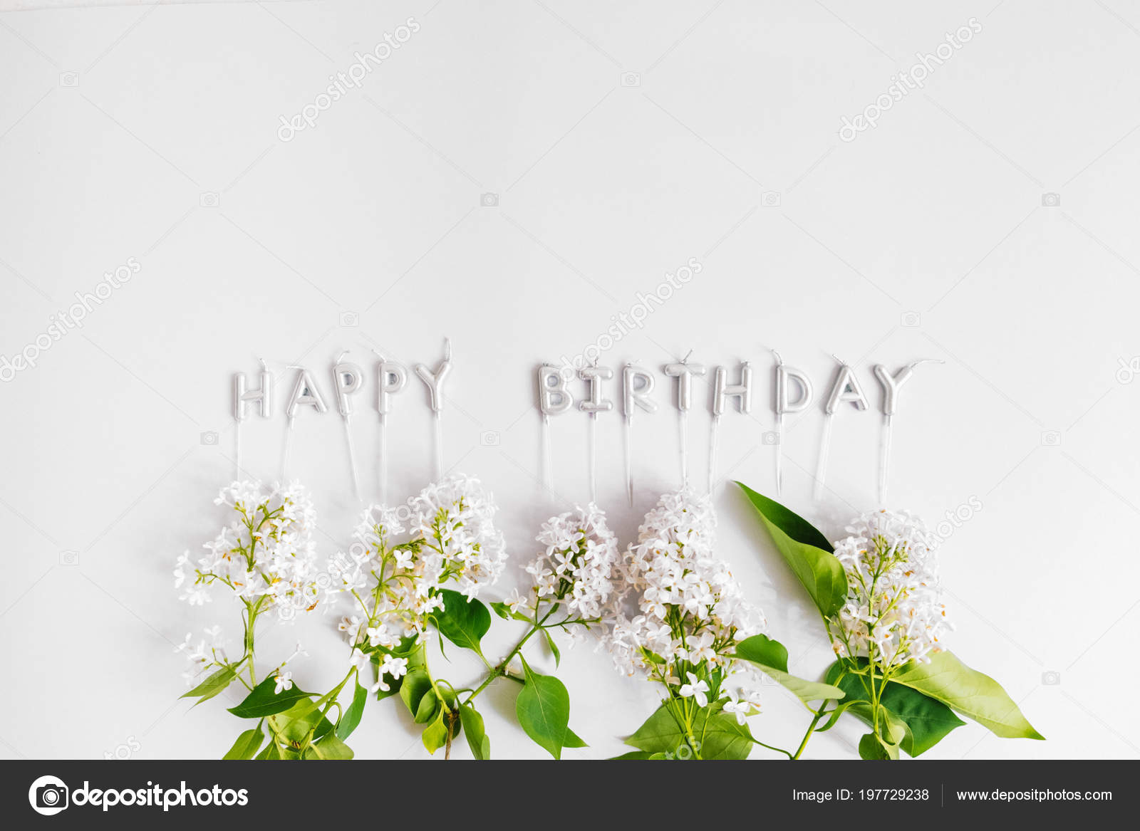 Silver Letter Shaped Happy Birthday Candles Lilac Flowers White Background Stock Photo