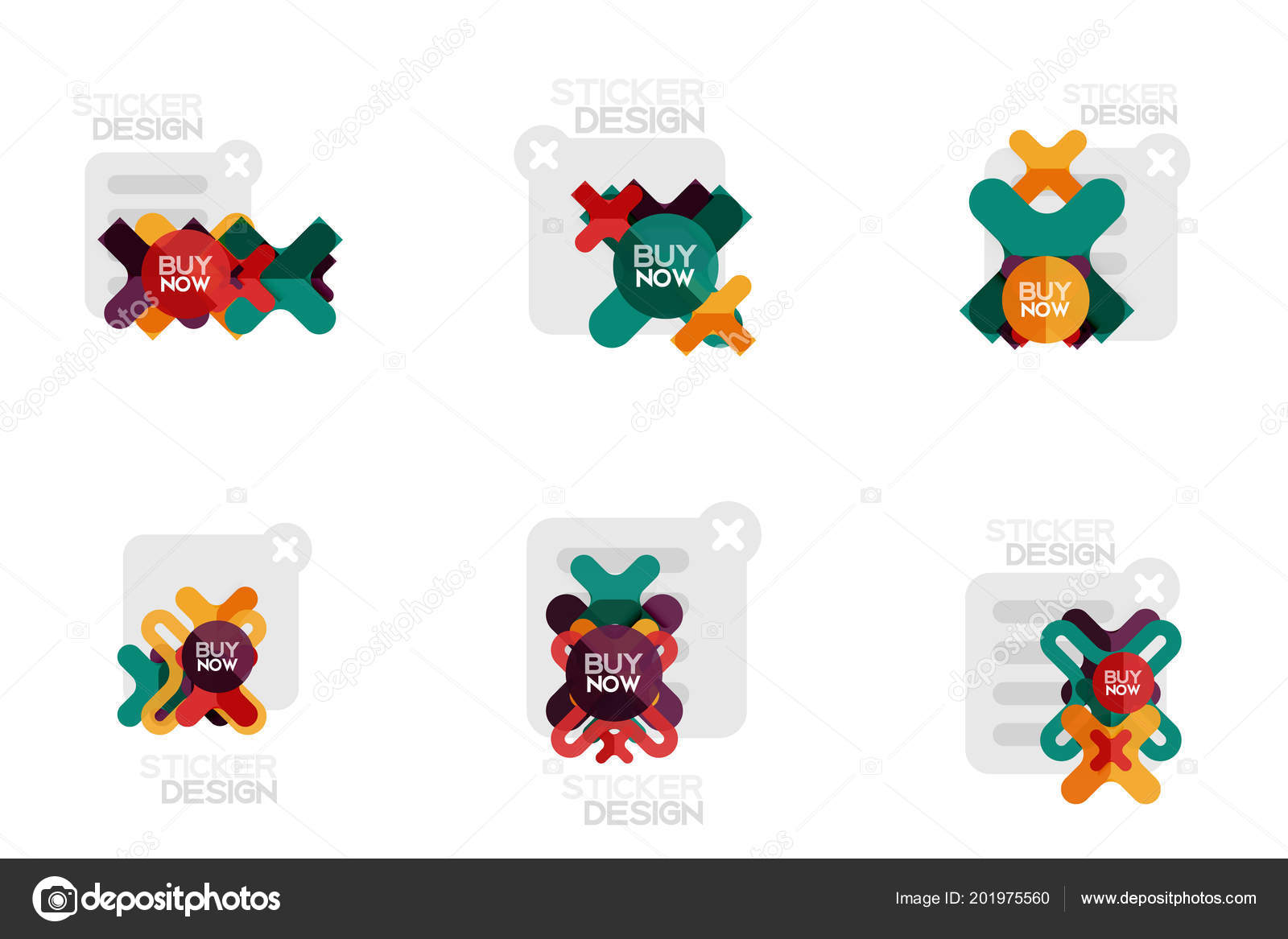 set of flat design geometric stickers and labels price tags offer