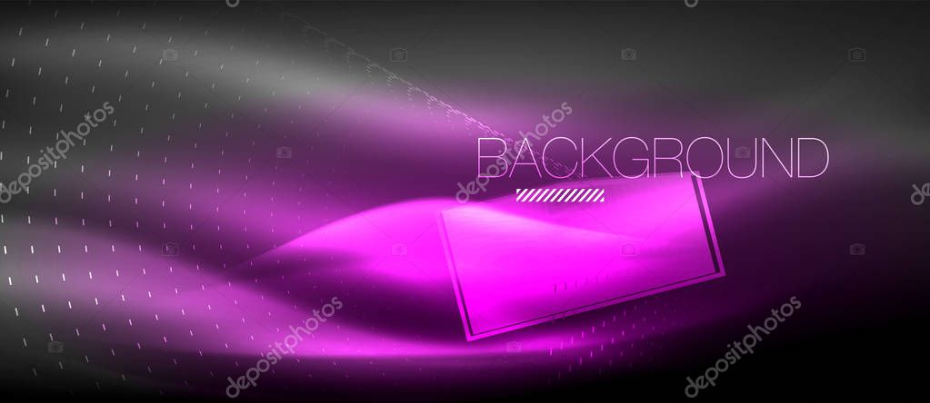 Neon glowing wave, magic energy and light motion background. Wallpaper template, hi-tech future concept