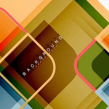 Square geometric abstract background, paper art design for cover design, book template, poster, cd cover illustration