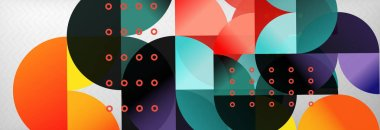 Abstract background, geometric composition, dynamic circles and round shapes design template