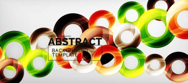 Modern geometric circles abstract background, colorful round shapes with shadow effects