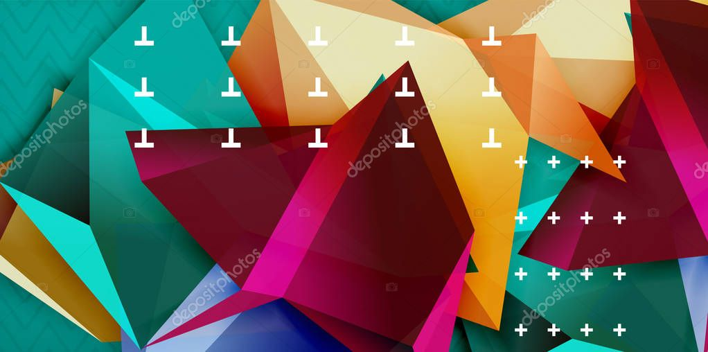 Color geometric abstract background, minimal abstraction design with mosaic style 3d shape