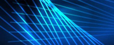 Neon blue glowing lines, magic energy space light concept, abstract background wallpaper design