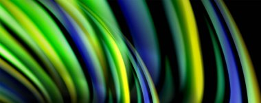 Fluid color waves with light effects, vector abstract background