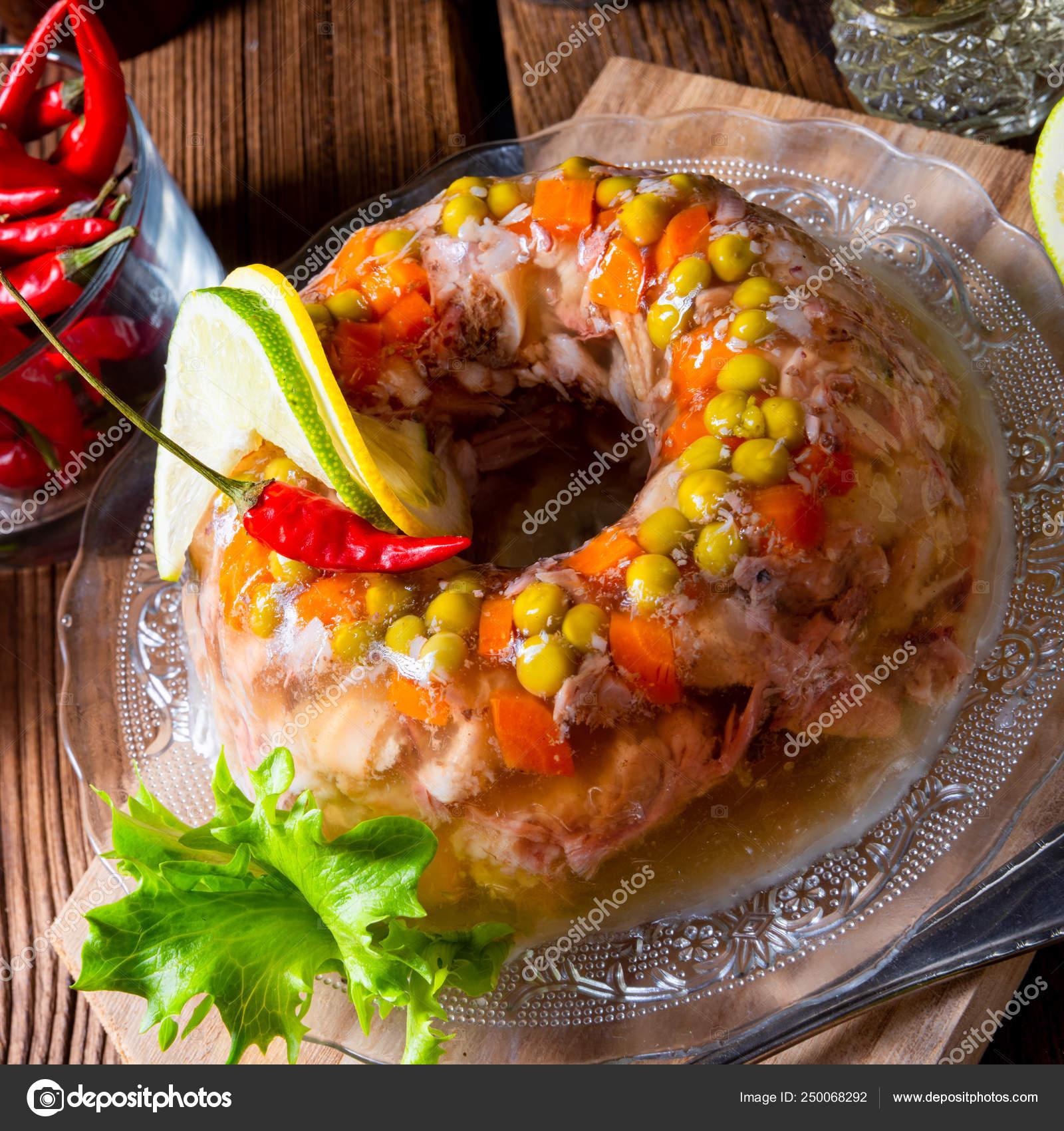 Tasty jelly with pork knuckle and pork legs — Stock Photo