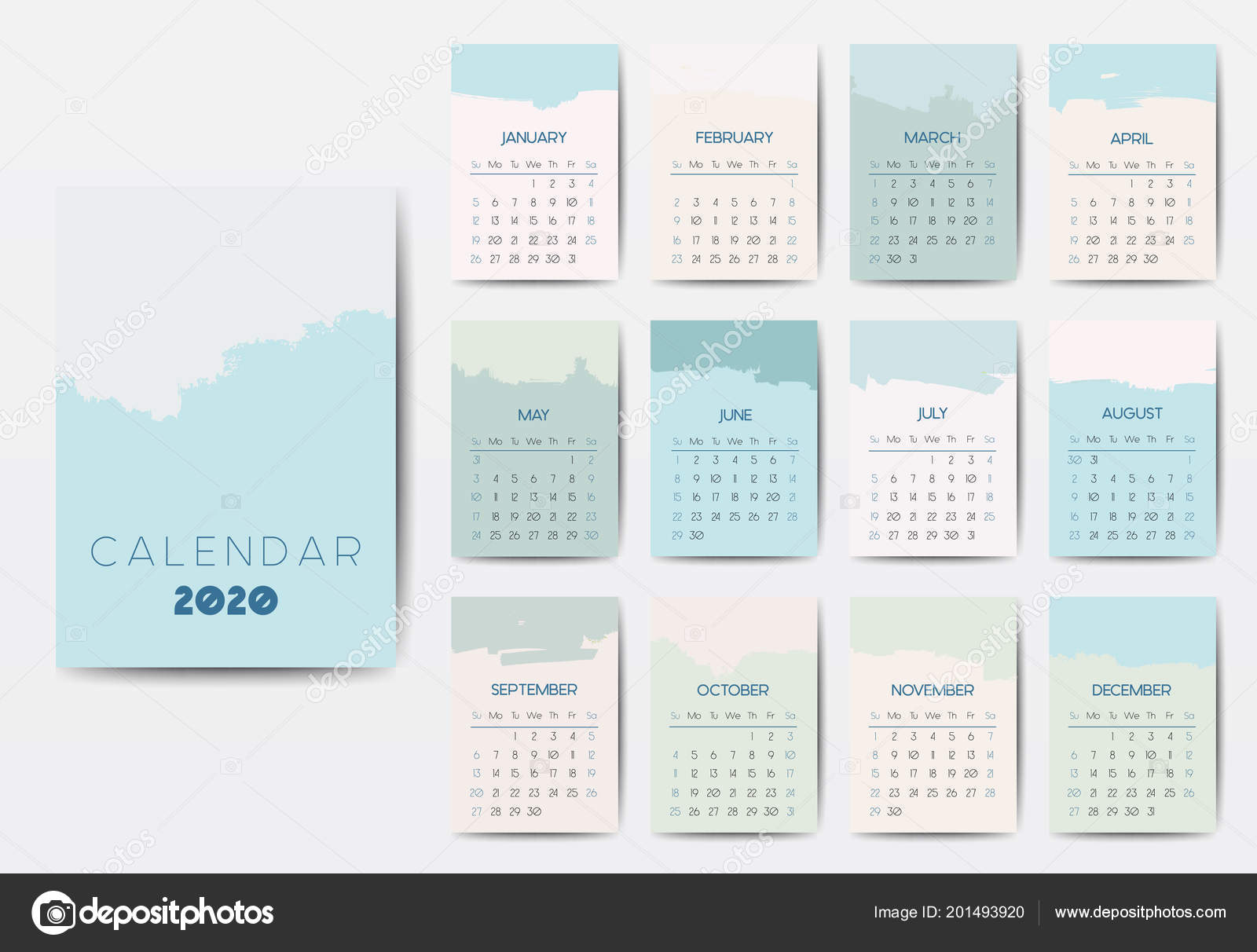 Modele De Calendrier 2020.Le Modele De Calendrier 2020 Image Vectorielle Mooo
