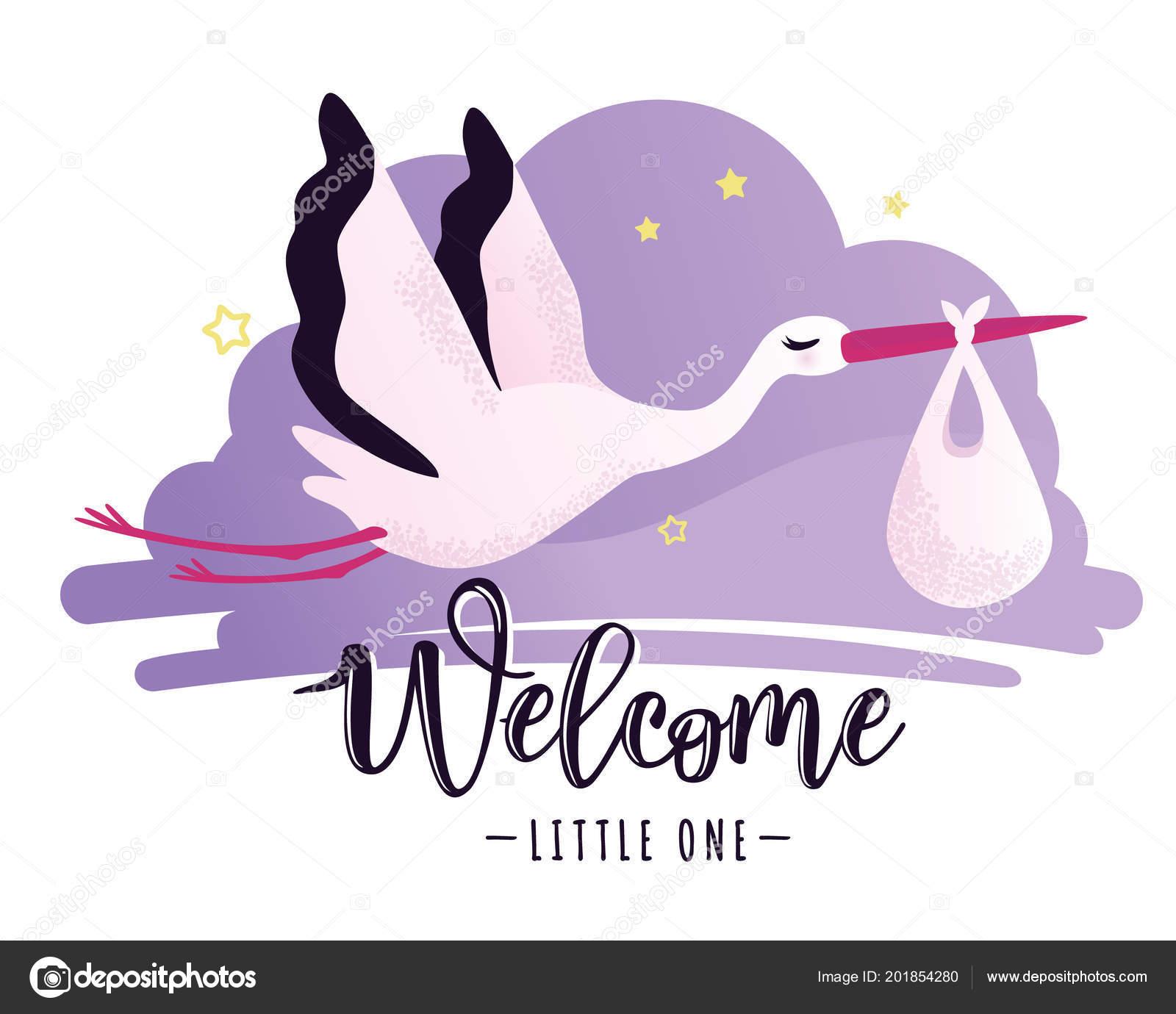 Ilustração Em Vetor De Um Chá De Bebê Convite Com Cegonha Vetores
