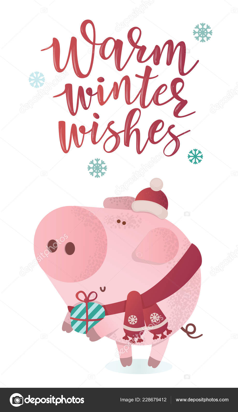 Piggy Roblox Characters Cute Cute Piggy Character In A Winter Scarf With A Present Stock Vector C Volchonok 228679412
