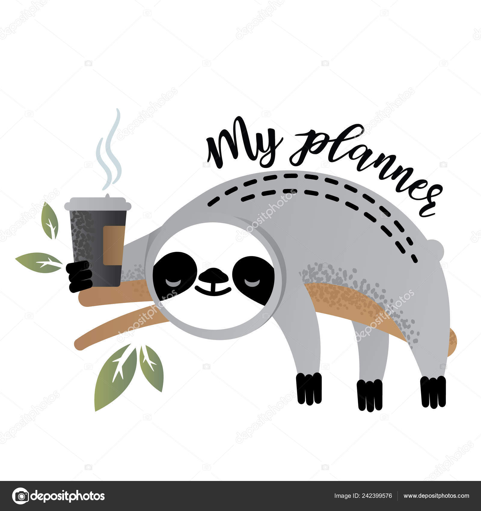 Vector Illustration Of A Kawaii Sloth For Planners