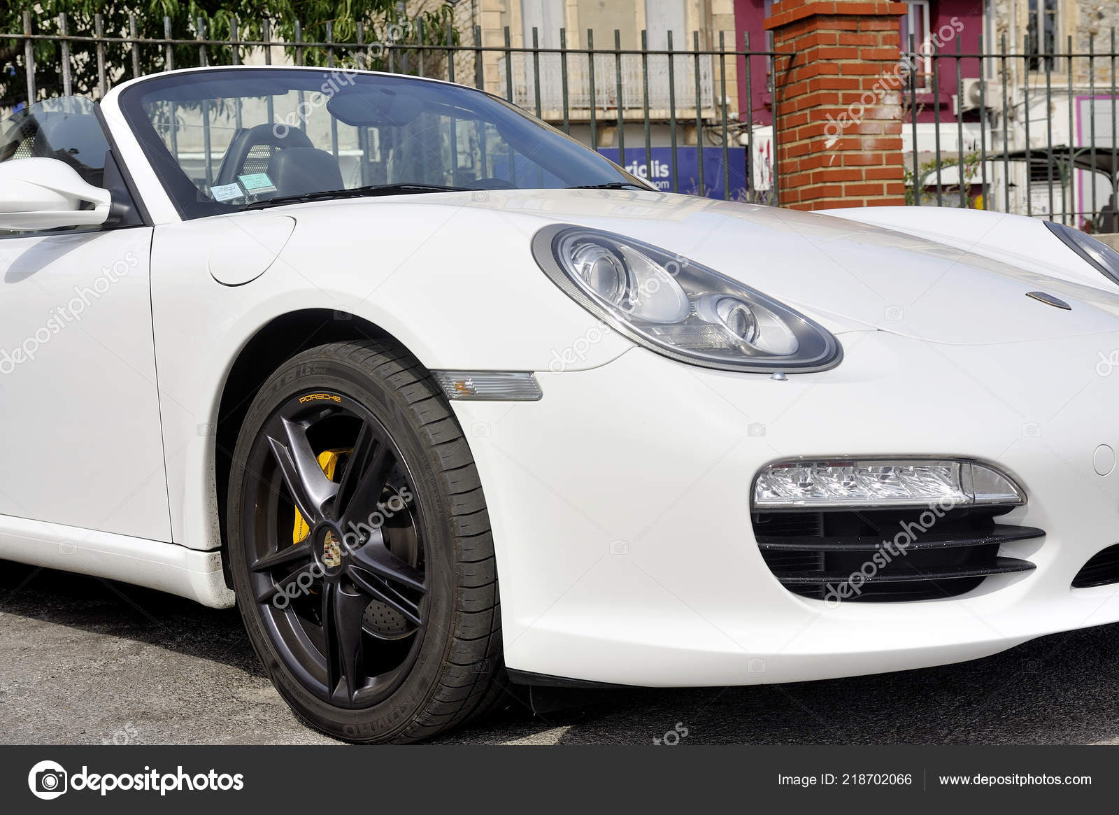Ales France September 2018 Porsche Convertible White Sports Car Parking Stock Editorial Photo C Gilles Paire 218702066