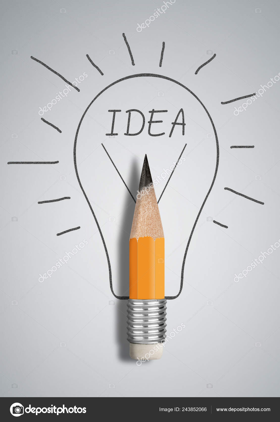 Kreative Idee Konzept Bleistift Gezeichnete Birne