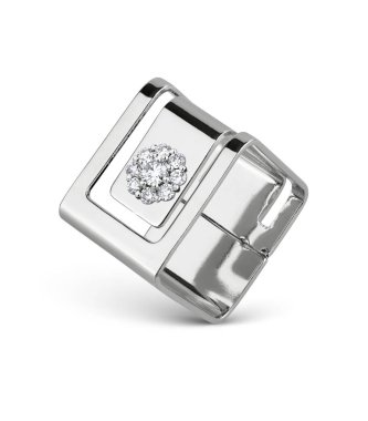 Jewelry ring with diamonds, square shape, isolated on white