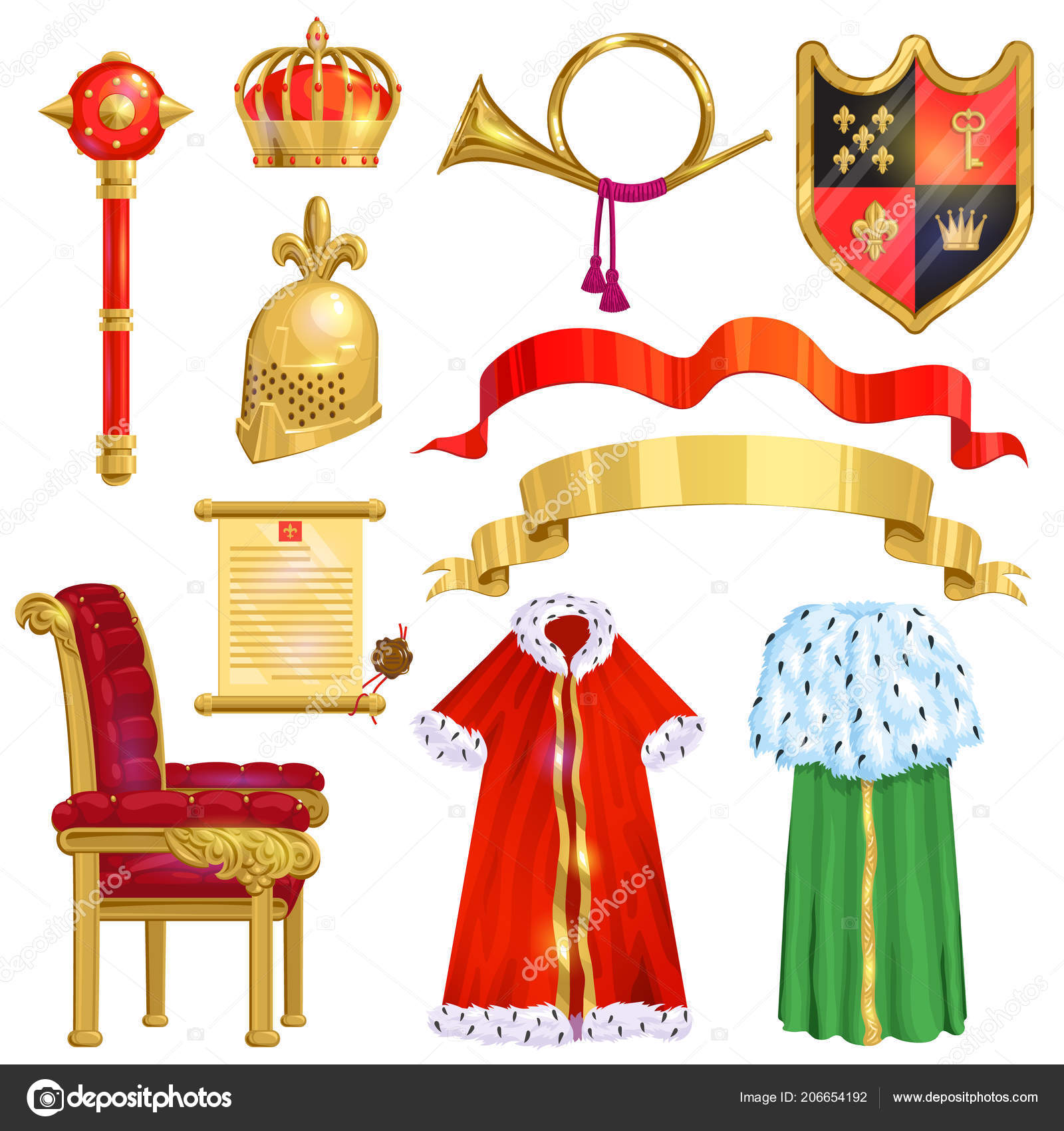 Король королевской золотой скипетр символ государственной власти.
