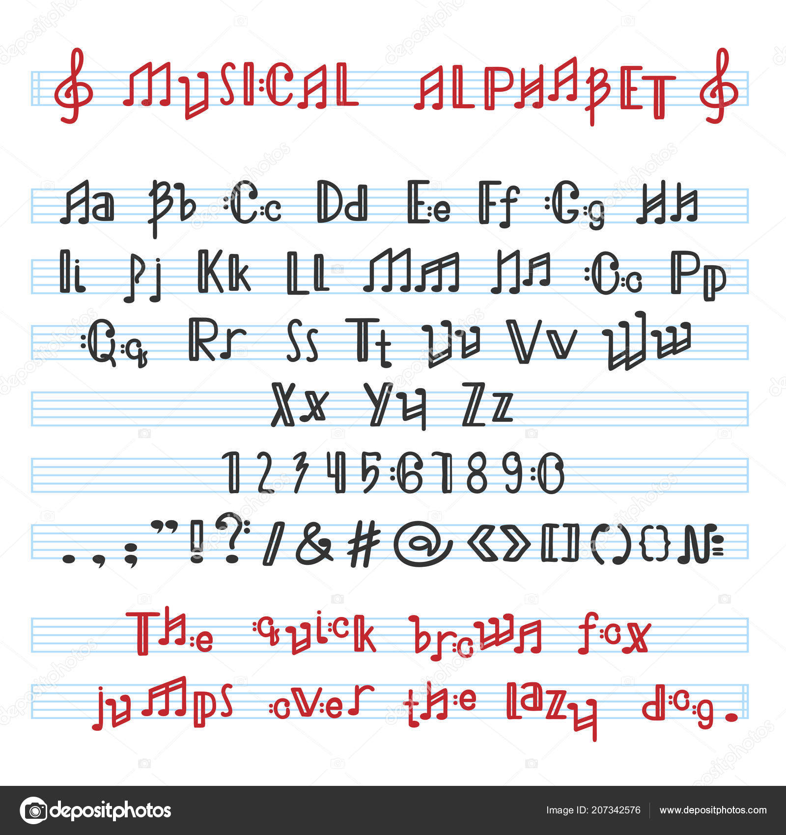 musical font music note letters alphabet alphabetical vector illustration typography alphabetic melody abc letter typeset alphabetically isolated vectordreamsmachine