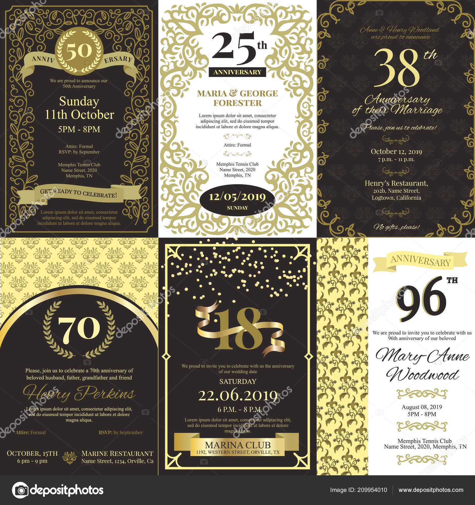 Anniversary invitation vector card inviting to birthday party or anniversary invitation vector card inviting to birthday party or wedding celebration background golden design template with stopboris Images