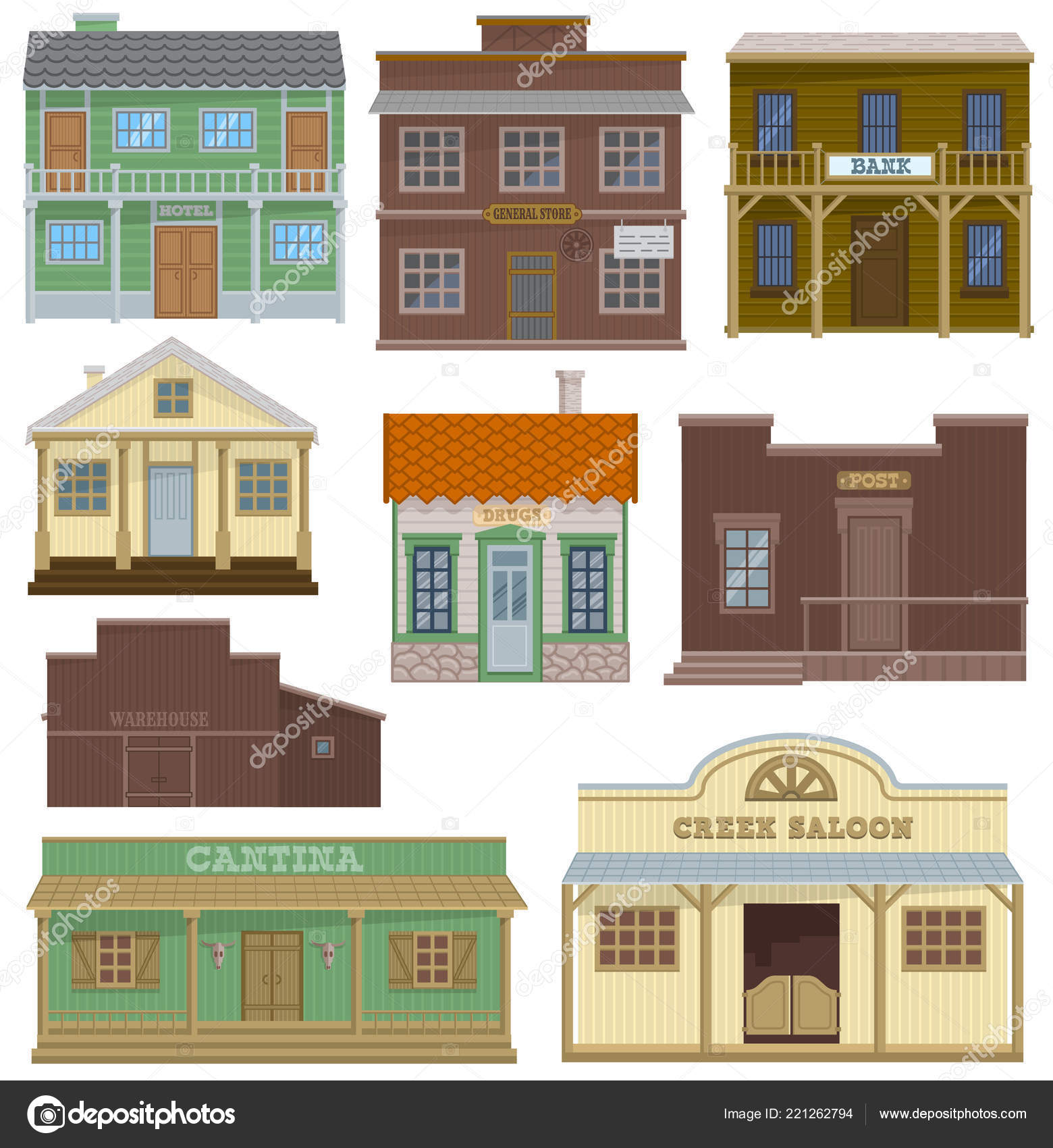 saloon vector wild west housing building and western cowboys house