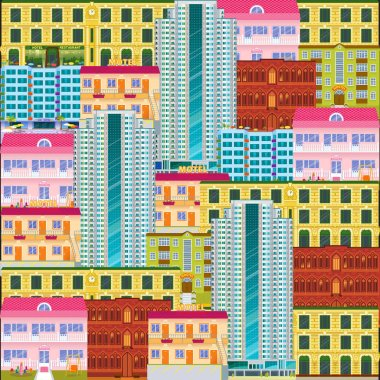 City scape seamless pattern. Cartoon hotels and motels background. Downtown landscape with high skyscrapers. Panorama architecture wallpaper. Hotel buildings vector illustration.