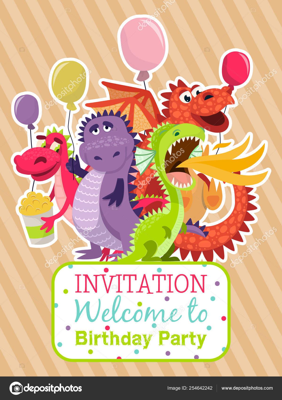 Cartel De Dragones Bebé Ilustración De Vector De Tarjeta De