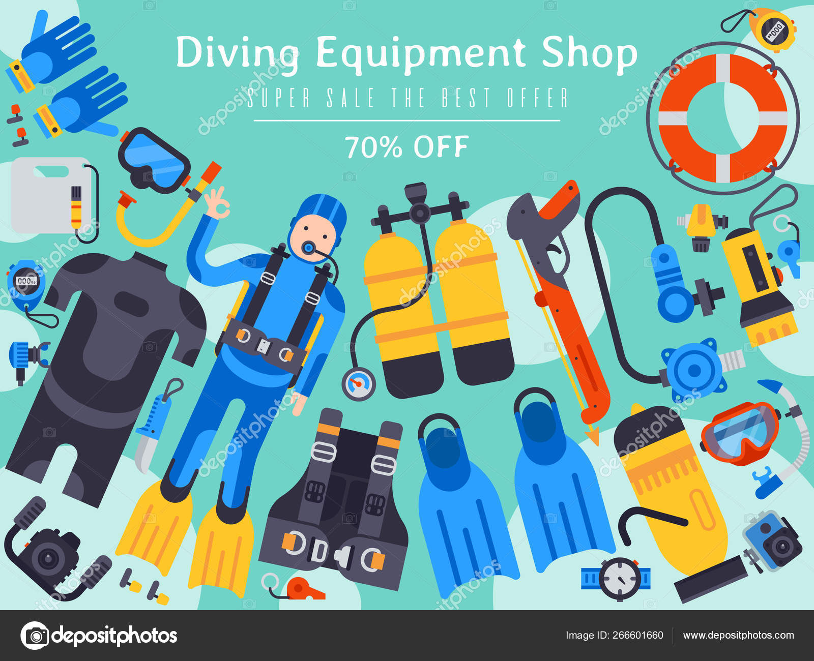 Underwater diving sport shop banner poster templates vector