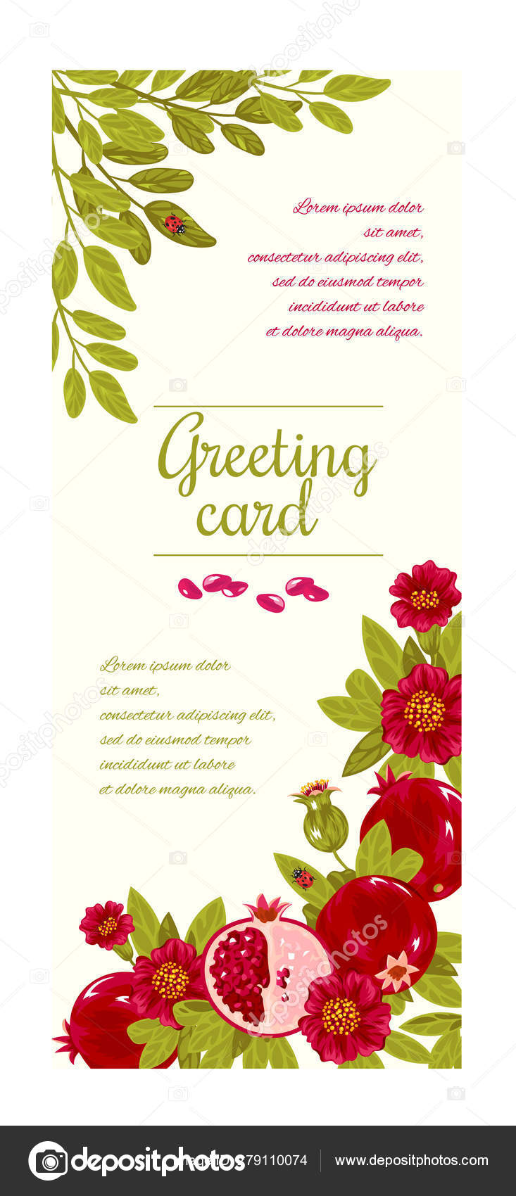 Floral Greeting Card Template For Flower Shops Or
