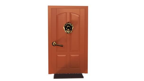 Fából készült ajtó. 3D megjelenítő animáció