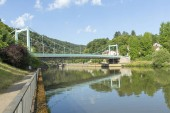 Fotografie View ot the bridge over the Saar River in the municipality of Mettlach