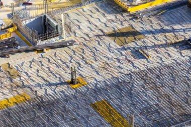 concrete base plate at a construction site