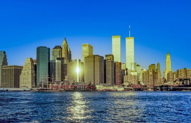 twin towers in New York in sunset light