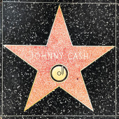 closeup of Star on the Hollywood Walk of Fame for Johnny Cash