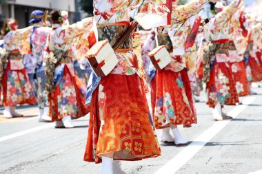 KAGAWA, JAPAN - JULY 15 2018: Japanese performers dancing in the famous Yosakoi Festival, yearly free public event. Yosakoi is a unique style of Japanese dance event.