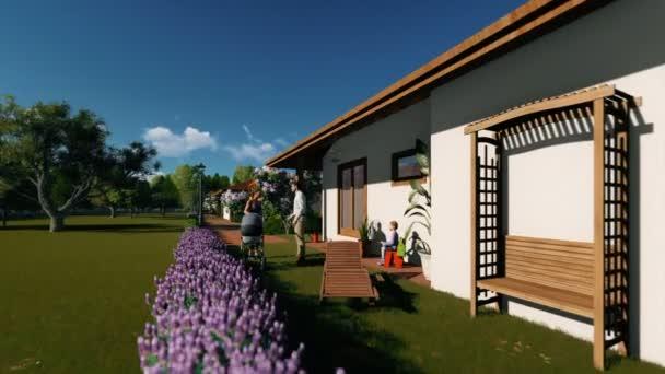 Rezidenční vilový komplex s několika mluvil na dvoře, rýžování