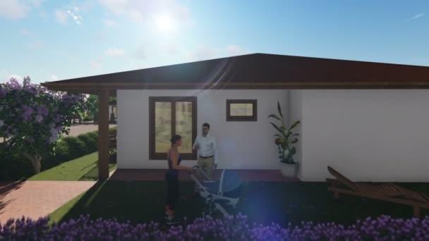 Rezidenční vilový komplex s lidmi, relaxační, posouvání