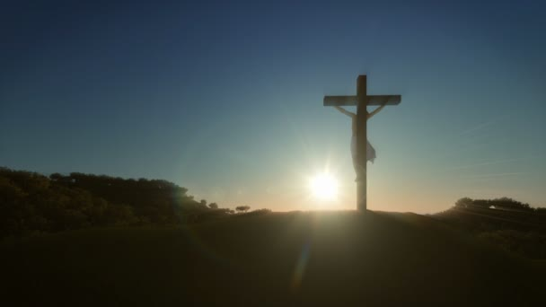 Jesus cross at sunrise, 4K