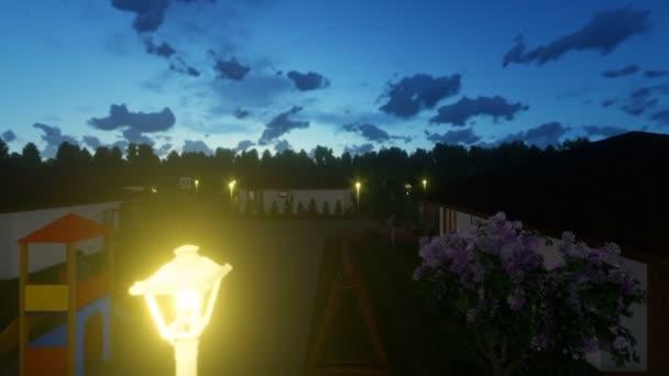 Rezidenční vilový komplex s lidmi relaxační, západ slunce, ráno