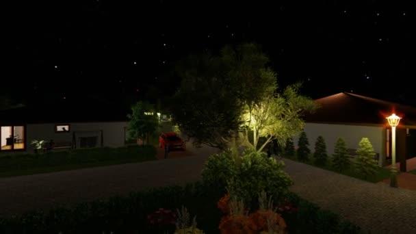 Rezidenční vilový komplex s lidmi, relaxační, hvězdnou oblohu, fotomontáž