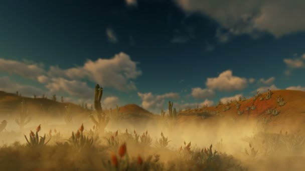 Woman Running in the Desert with Saguaro Cactus and Dust blowing in the Wind, 4K