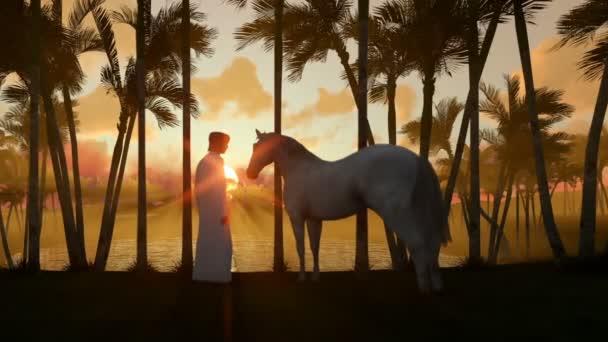 Arab muž s koněm na oázu v poušti s vodou jezírka a palmami při západu slunce, posouvání