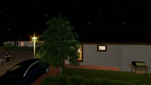 Rezidenční vilový komplex s lidmi, relaxační, hvězdnou oblohu, oběžné dráhy cam