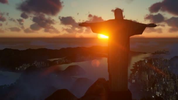 Christ the Redeemer at sunset, camera pan and zoom, Rio de Janeiro, Brazil