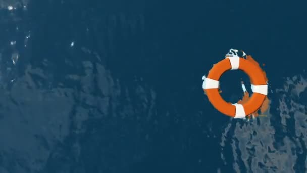 Rettungsring schweben am Meer mit Haien Schwimmen unter, verkleinern Sie die Ansicht