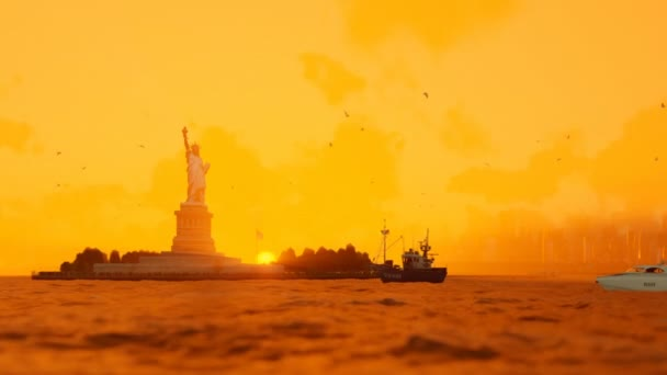 Statue of Liberty with ships sailing, Manhattan, New York City against sunrise fog