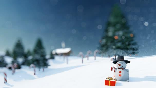 Krásné Vánoční pozadí s sněhulák a Candy hole, 4k