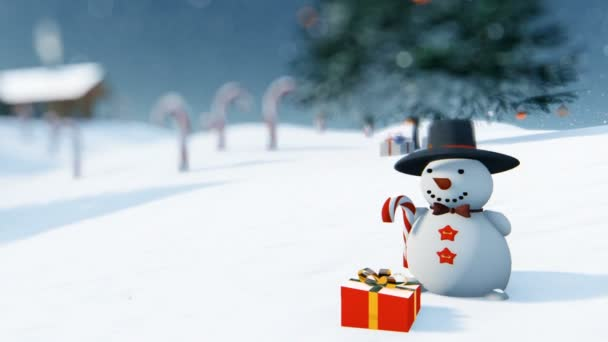 Beautiful Christmas background with Snowman and Candy Canes, zoom out