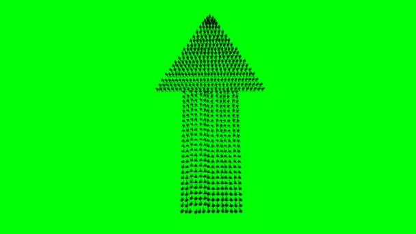 Businessmen crowd forming arrow shape pointing up, back view, 4K, on Green Screen