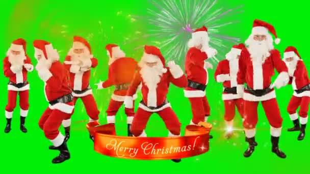 Banda Santa Claus Dancing, Veselé vánoční stuhy, ohňostroje, Zelená obrazovka Chromakey
