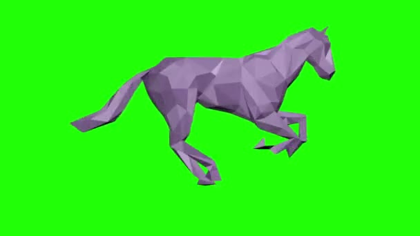 Low poly 3d lila paper horse running, seamless loop, Green Screen Chromakey