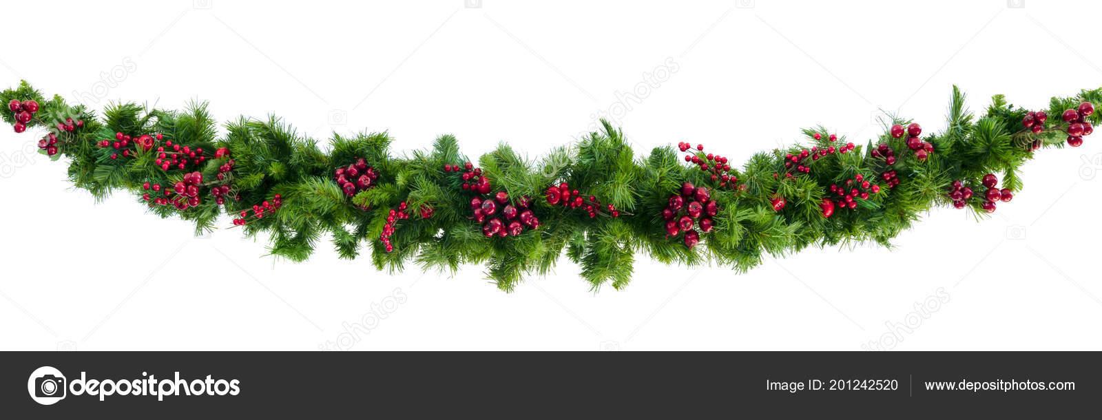 Guirnalda Navidad Con Frutos Rojos Aislado Blanco Foto De Stock - Guirnalda-navidad