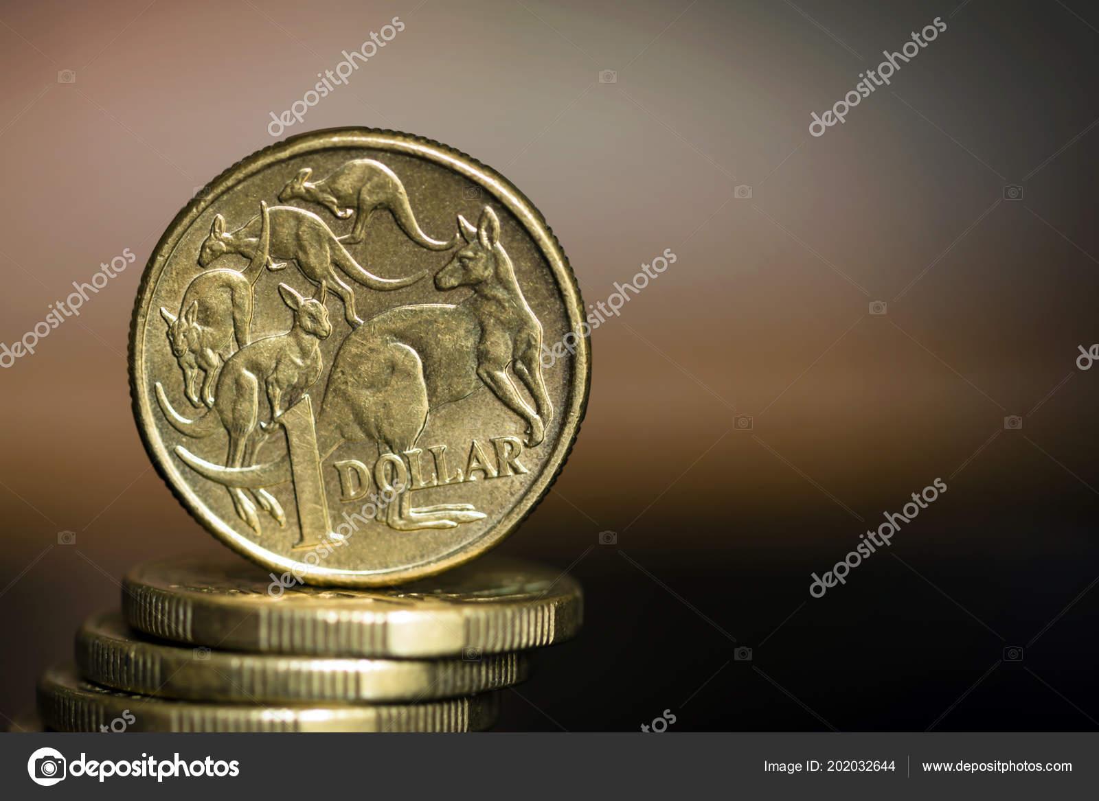 Australischer Dollar Münzen über Unscharfen Hintergrund Mit Exemplar
