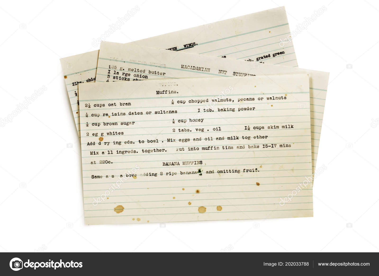 old recipes typed index cards isolated white stock photo